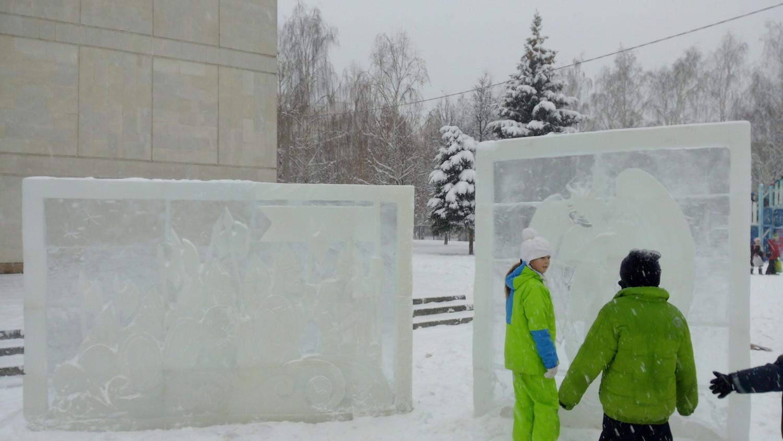 Ледяная картина, скульптура (полуобъём, рождественские сюжеты)