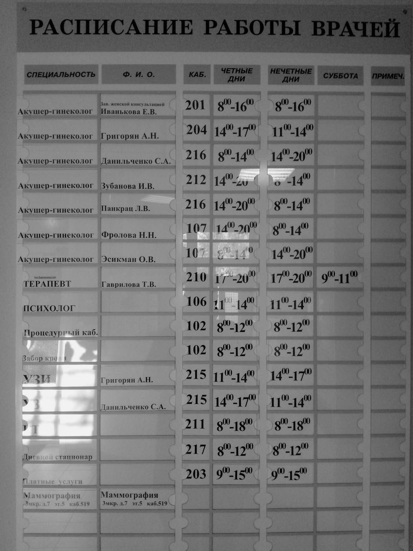 """Расписание работы врачей """"Женская консультация"""" г. Московский, 1 мкрн., дом 54 (здание старой поликлиники)"""