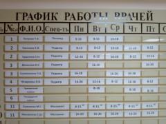 Расписание работы врачей в детской поликлиники г. Московский
