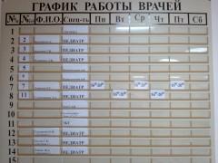 График работы педиатров в 1 мкрн.