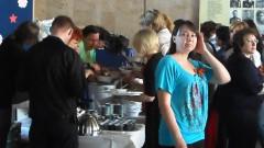 Фойе ДК, праздничный стол, развлекательная программа