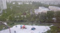 Снег 2 июня 2017 в первом микрорайоне города Московский.