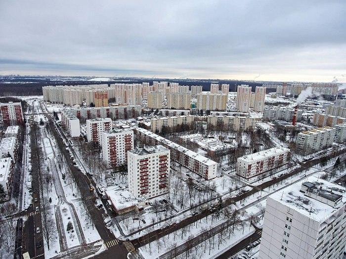 Город Московский, вид с высоты